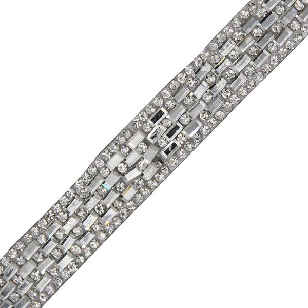 1 metre x 14 mm Clear Crystal Iron On 4 Bars